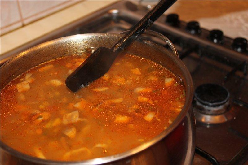 ароматный суп на говяжьем бульоне
