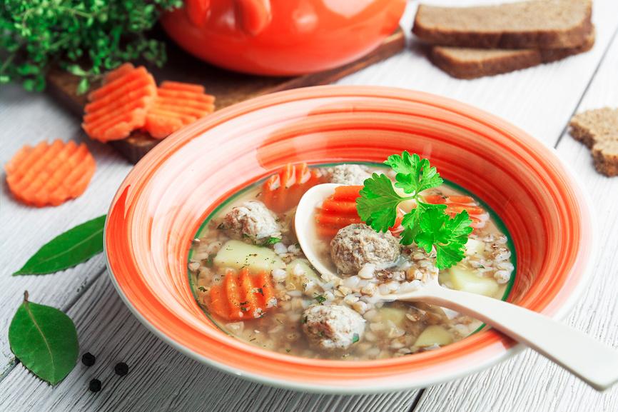 Детский суп с рыбными фрикадельками